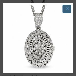 ZALES Diamond Accent Oval Vintage Locket in Silver